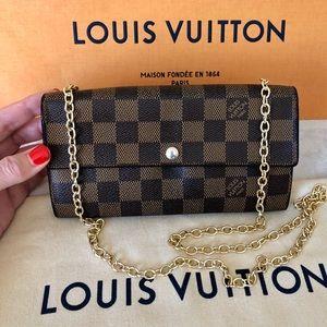 Louis Vuitton Damier Ebene Sarah Wallet with Chain
